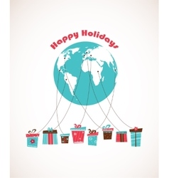 Global Holiday season world wide gift delivery vector image