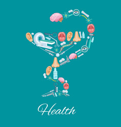 Health poster in hygieia bowl symbol and medicines vector