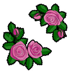 pink rose embroidery patch vector image vector image