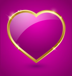 Purple and golden heart vector image vector image