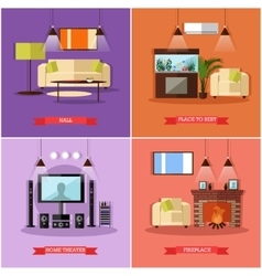 set of posters banners with home interior vector image