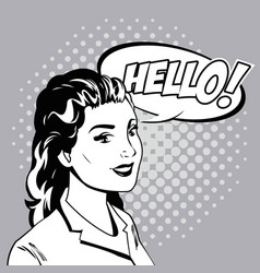 woman talk comic pop art vector image vector image