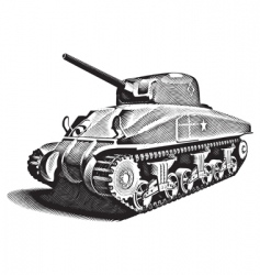 american tank engraving vector image
