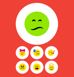 flat icon face set of descant cross-eyed face vector image vector image