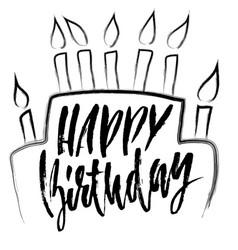 happy birthday modern dry brush lettering for vector image vector image