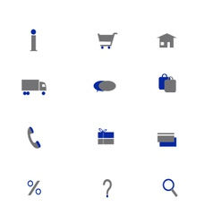Online shoping icons two colors vector image vector image