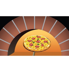 pizza in oven vector image