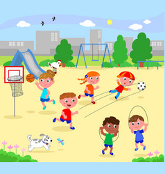 sportive children at the park vector image vector image