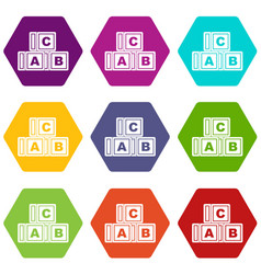 abc cubes icon set color hexahedron vector image vector image
