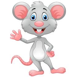 Cartoon rat waving hand vector image