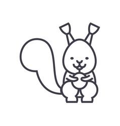 cute squirrel line icon sign vector image