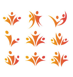 isolated abstract orange color people unity logos vector image vector image