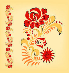 russian folk floral traditional ornament vector image vector image