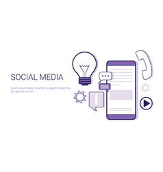 social media communication concept web banner with vector image vector image
