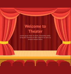Theater scene with a red curtain concept banner vector