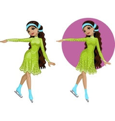 Cute young Indonesian woman figure skater vector image vector image