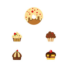 flat cake set of confectionery doughnut cupcake vector image vector image