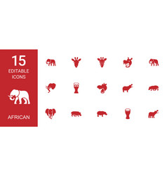 15 african icons vector