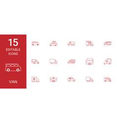 15 van icons vector image