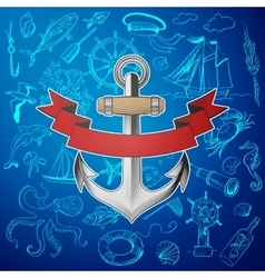 anchor with hand-drawn elements marine theme vector image
