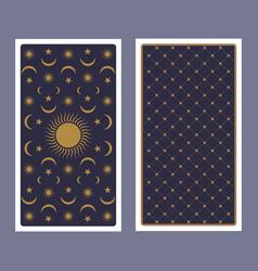 Back tarot card decorated with stars sun vector