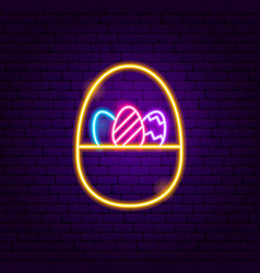 Basket with eggs neon sign vector