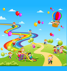 Beautiful view full of the children and colourfull vector