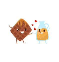 belgian waffles and caramel sauce are friends vector image