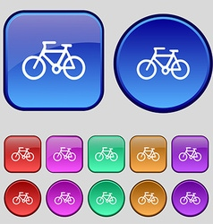 Bicycle icon sign A set of twelve vintage buttons vector