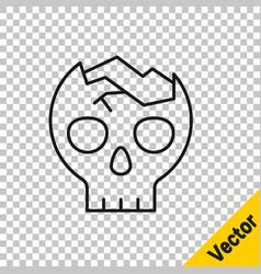 black line broken human skull icon isolated on vector image