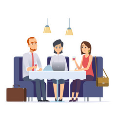 business dinner meeting with work partner or vector image