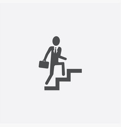 Businessman climbing stairs icon vector