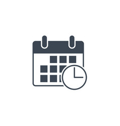 calendar with clock related glyph icon vector image