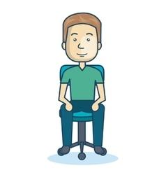 Cartoon guy sitting on chair design isolated vector