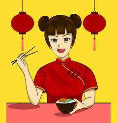 chinese woman eating vegetarian food vector image
