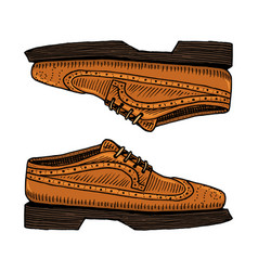 Classic shoes or men accessory engraved hand vector