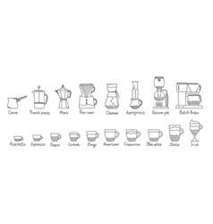 Coffee brewing methods infographic set brewed in vector
