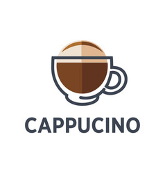 Coffee cappuccino drink cup flat icon for vector