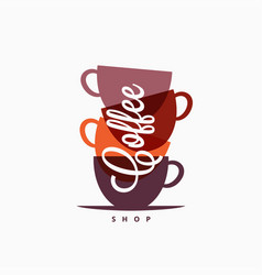 Coffee cup logo coffee mugs color banner on white vector