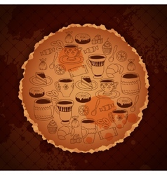 coffee vintage template with blots and stuff vector image