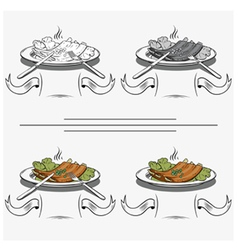 cooked ribs on the grill vector image
