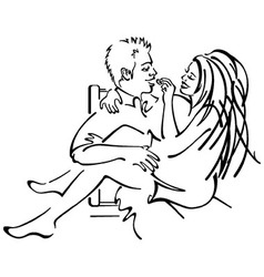 Couple Cuddling Woman Feeding man vector
