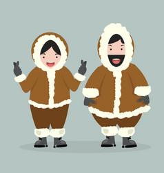 Couple eskimo in flat design vector