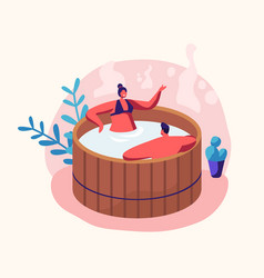 Couple young man and woman sitting in wooden bath vector