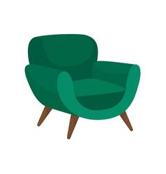 Cozy green armchair with wooden legs comfortable vector