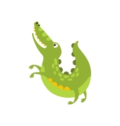 Crocodile Jumping Like Dog Flat Cartoon Green vector