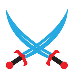 Crossed swords pirate sabers icon edged weapons vector