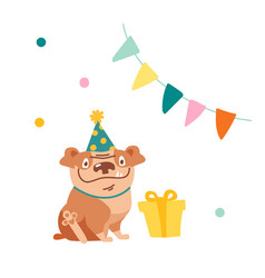 cute dog character celebrate birthday funny vector image