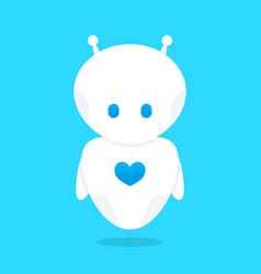 cute funny white robot bot with blue heart vector image
