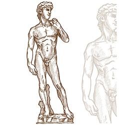 david statue michelangelo hand drawn vector image